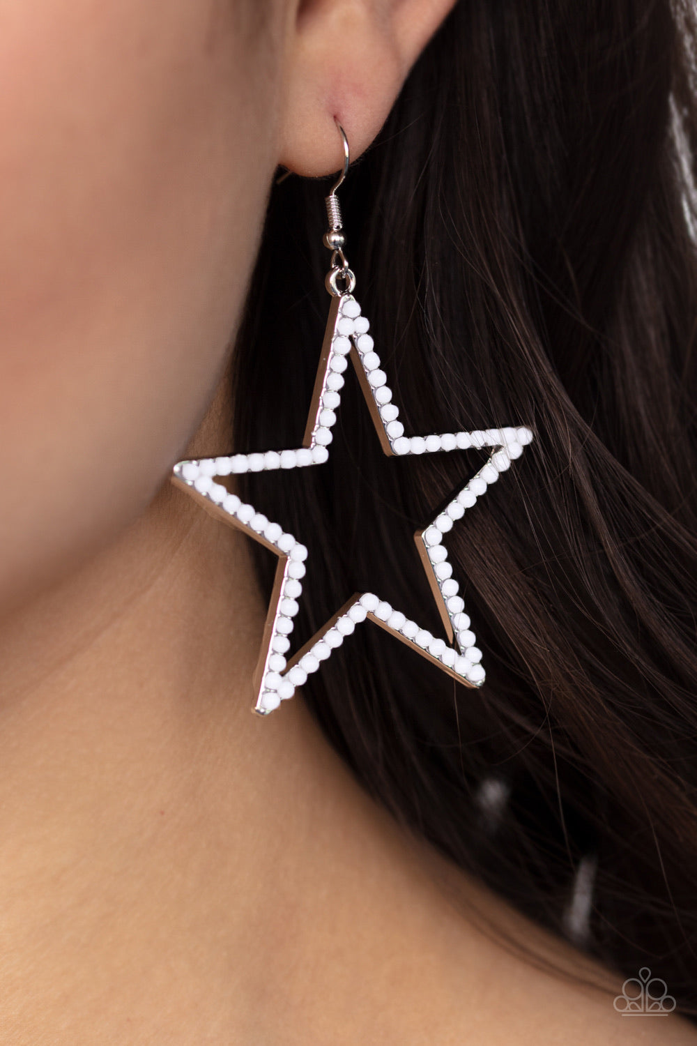 Count Your Stars White Paparazzi Earring - JewelTonez Jewelry