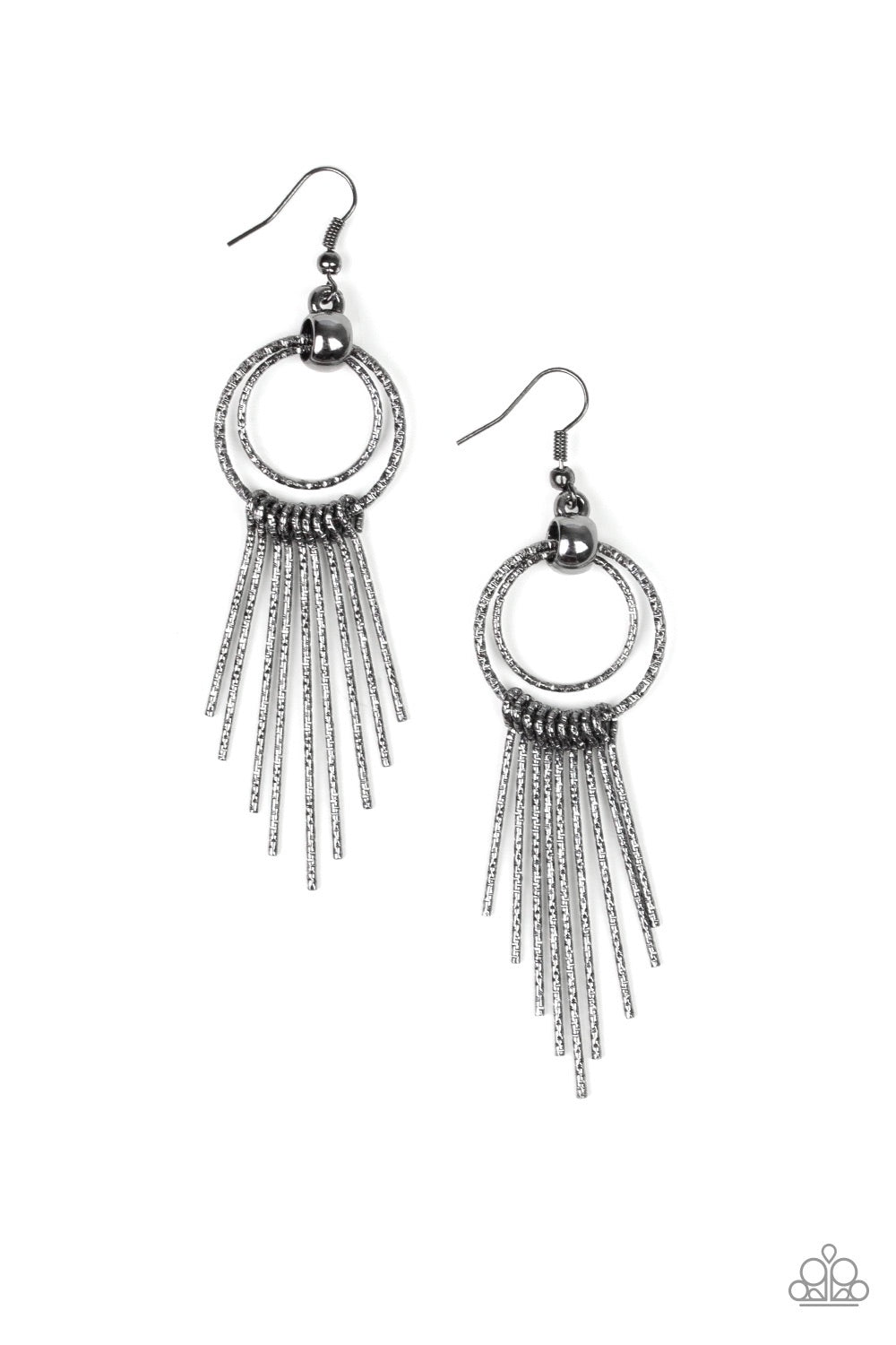 Eye Catching Edge Black Earrings - Paparazzi - JewelTonez Jewelry