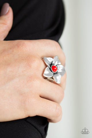 Ask For Flowers Red Paparazzi Rings - JewelTonez Jewelry