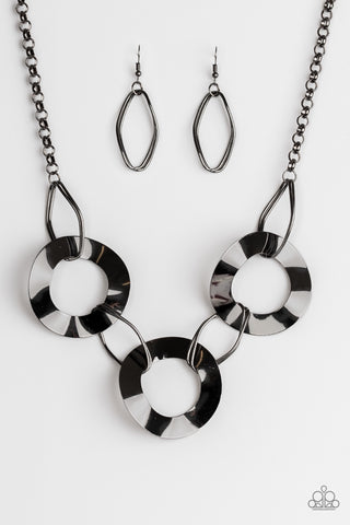 Modern Mechanics Gunmetal Asymmetrical Necklace - Paparazzi Jewelry Necklaces Necklace set - Paparazzi Accessories