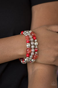 Malibu Marina Red Paparazzi Bracelets - JewelTonez Jewelry