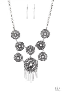 Modern Medalist Silver Paparazzi Necklace - JewelTonez Jewelry