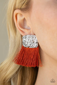 Plume Bloom Orange Paparazzi Earring - JewelTonez Jewelry