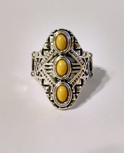 Mayan Motif Yellow Paparazzi Ring - JewelTonez Jewelry
