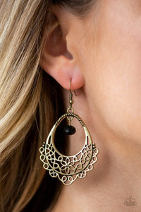 Garden Society Brass Paparazzi Earrings - JewelTonez Jewelry