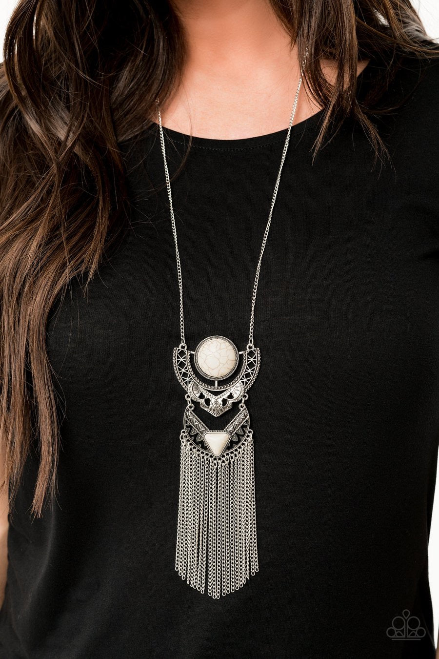 Spirit Trek White Paparazzi Necklace - JewelTonez Jewelry