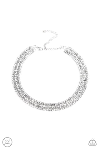 JewelTonez Full REIGN White Choker - Paparazzi