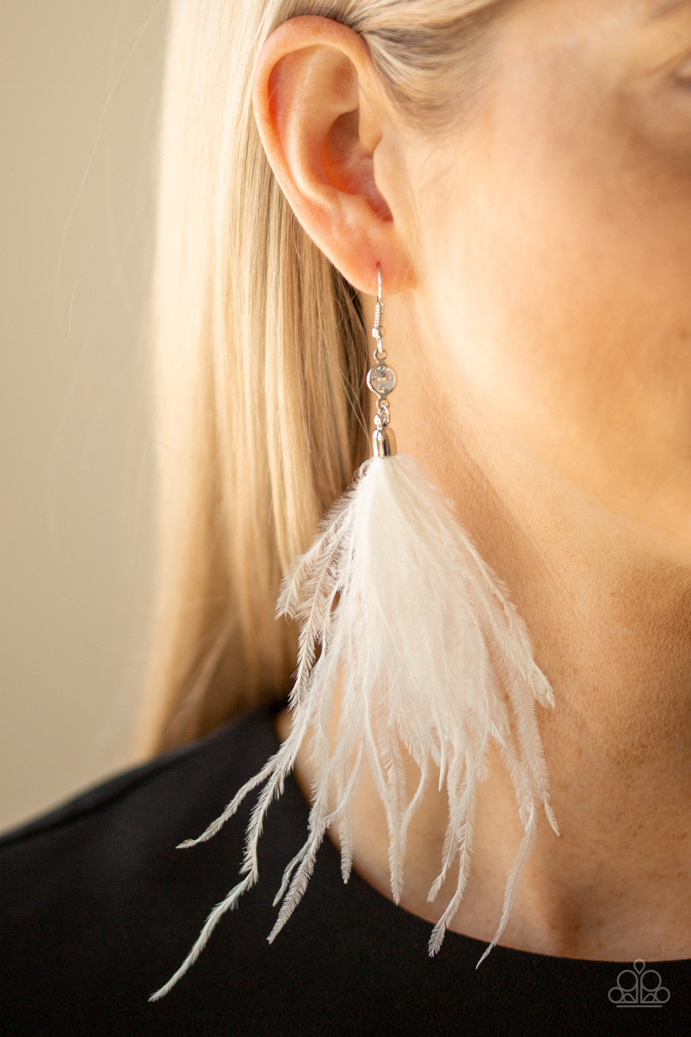 The SHOWGIRL Next Door White Paparazzi Earrings - JewelTonez Jewelry