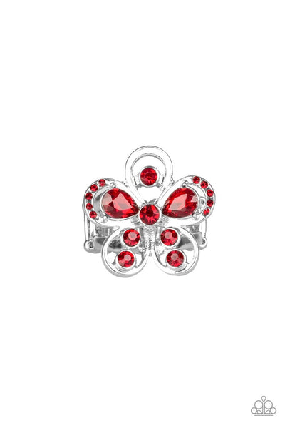 Gardens of Grandeur Red Paparazzi Ring - JewelTonez Jewelry