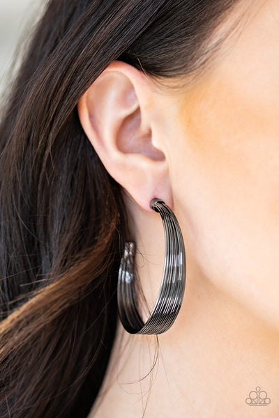 Live Wire Black Paparazzi Earrings - JewelTonez Jewelry