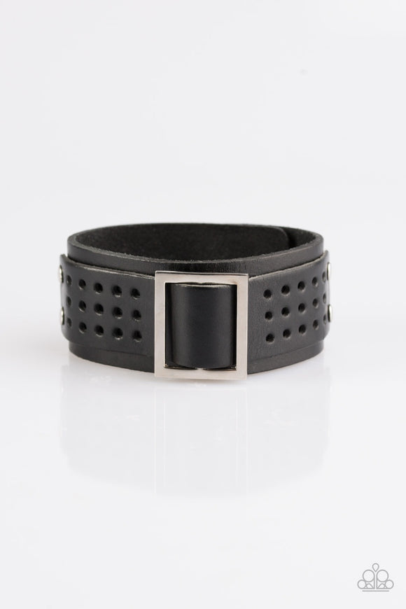 Men's Urban Runner Black Leather Urban Bracelet - Paparazzi Accessories Bracelet - Paparazzi Accessories