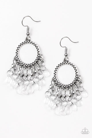 Paradise Palace White Paparazzi Earrings - JewelTonez Jewelry
