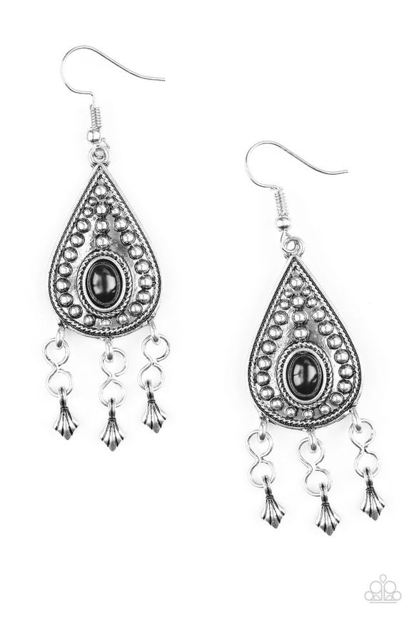 Sahara Song Black Silver Earring - Paparazzi Accessories Earrings - Paparazzi Accessories