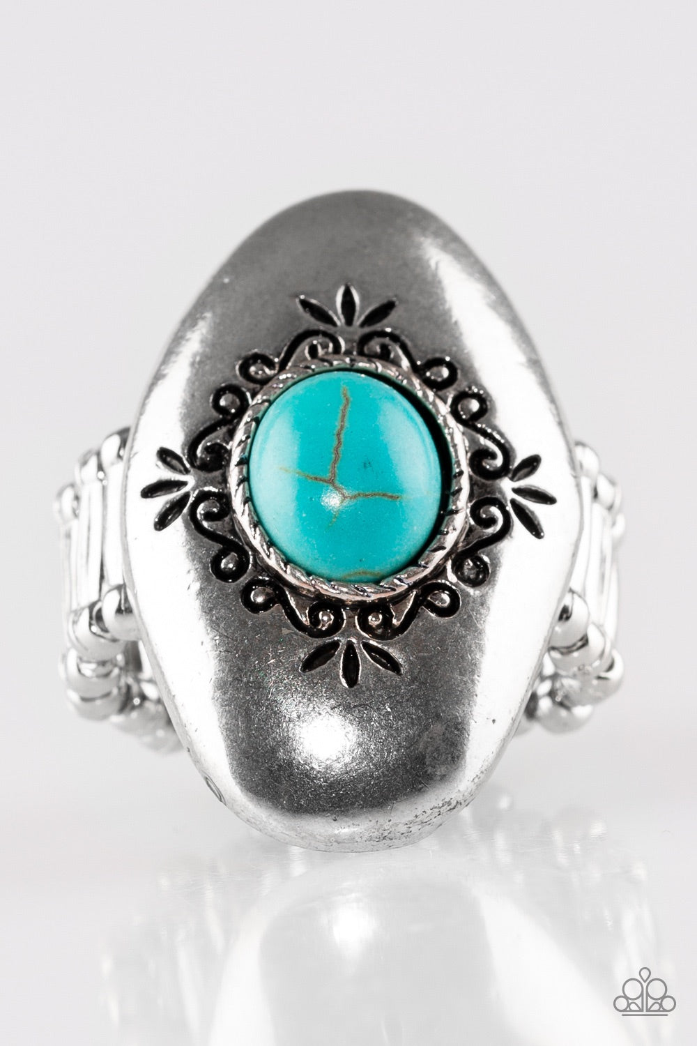 Stone Gardens Blue Turquoise Silver Ring - Paparazzi Accessories - JewelTonez Jewelry
