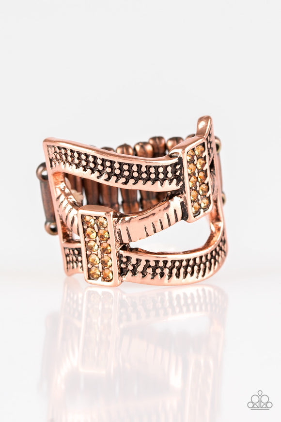 Urban Upscale Copper Rhinestone Ring - Paparazzi Accessories Ring - Paparazzi Accessories