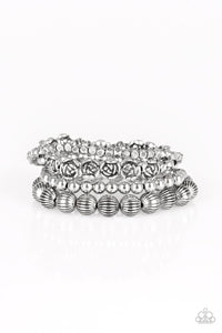 Rose Garden Gala Silver Bracelets - Paparazzi Accessories - JewelTonez Jewelry