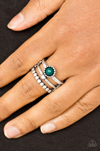 Summer Retreat Green Ring - Paparazzi - JewelTonez Jewelry