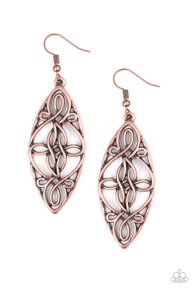 Tropical Trend Copper Paparazzi Earrings - JewelTonez Jewelry