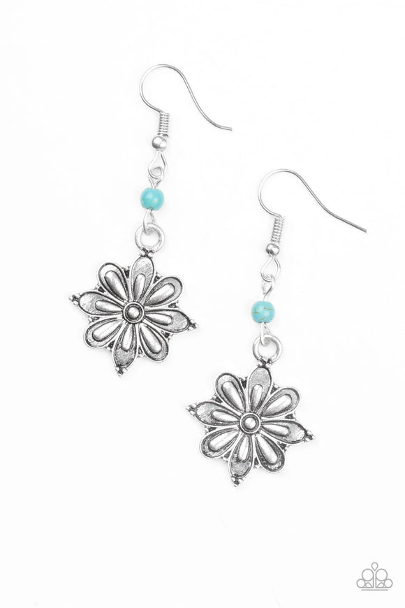 Cactus Blossom Blue Earring - Paparazzi Accessories Earrings - Paparazzi Accessories