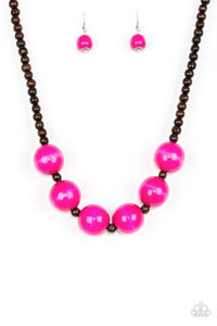 Oh My Miami Pink Wood Beads Necklace - Paparazzi Accessories Necklace set - Paparazzi Accessories