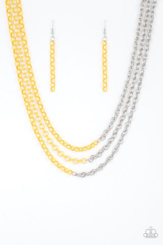 Turn Up The Volume Yellow Silver Necklace - Paparazzi Accessories Necklace set - Paparazzi Accessories