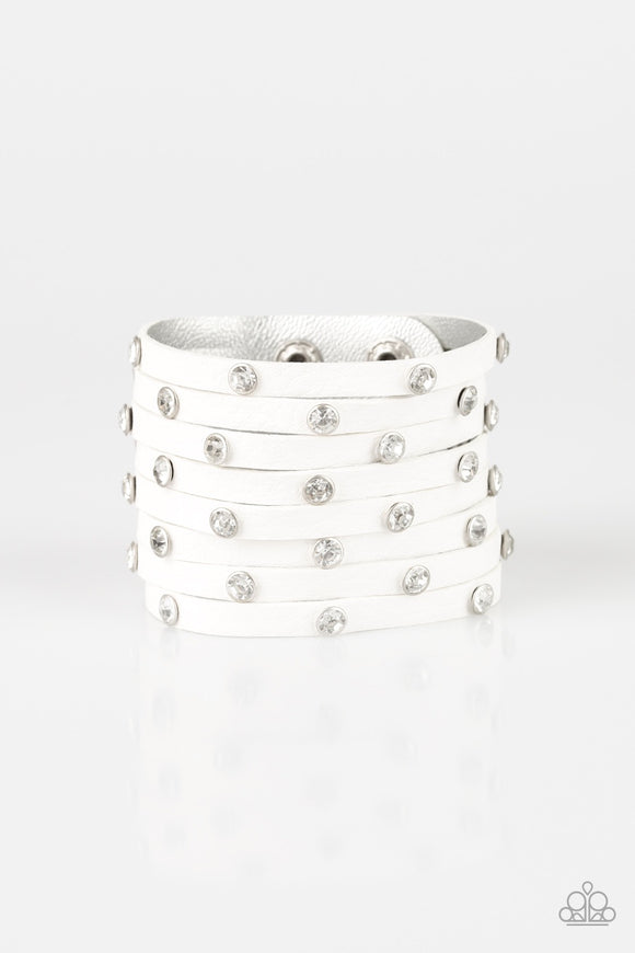 Sass Squad White Rhinestone Leather Urban Bracelet - Paparazzi Jewelry Bracelets Bracelet - Paparazzi Accessories