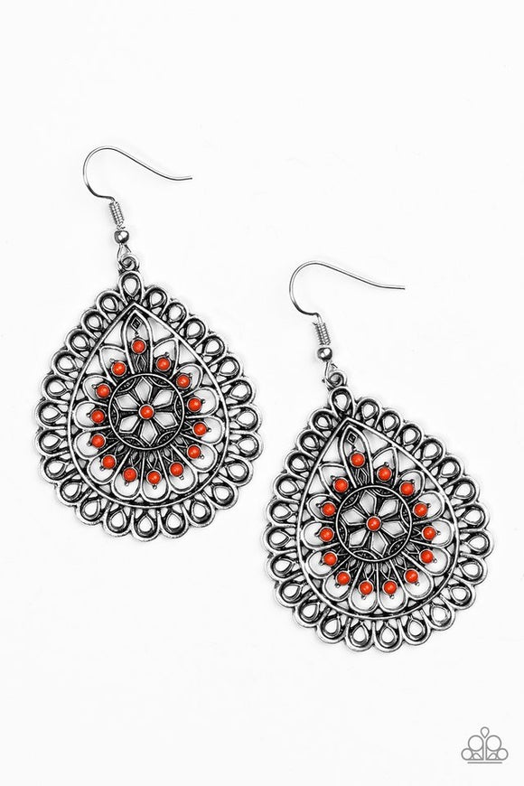 Sweet As Spring Orange Earring - Paparazzi Accessories Earrings - Paparazzi Accessories