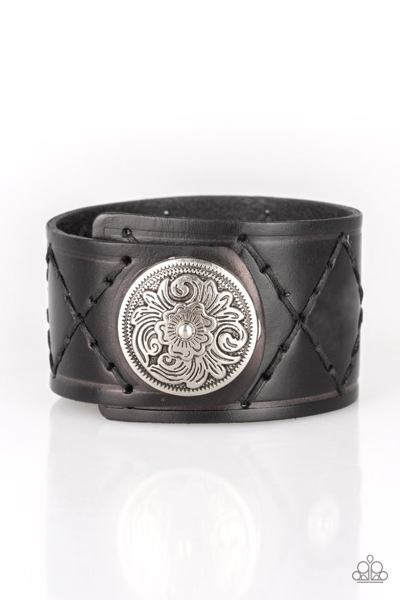 Badlands Bandit  Men's Silver and Black Leather Bracelets - Paparazzi Accessories Bracelet - Paparazzi Accessories