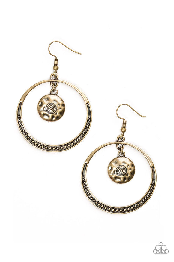 Tundra Trip Brass Hammered Hoop Earring - Paparazzi Accessories Earrings - Paparazzi Accessories
