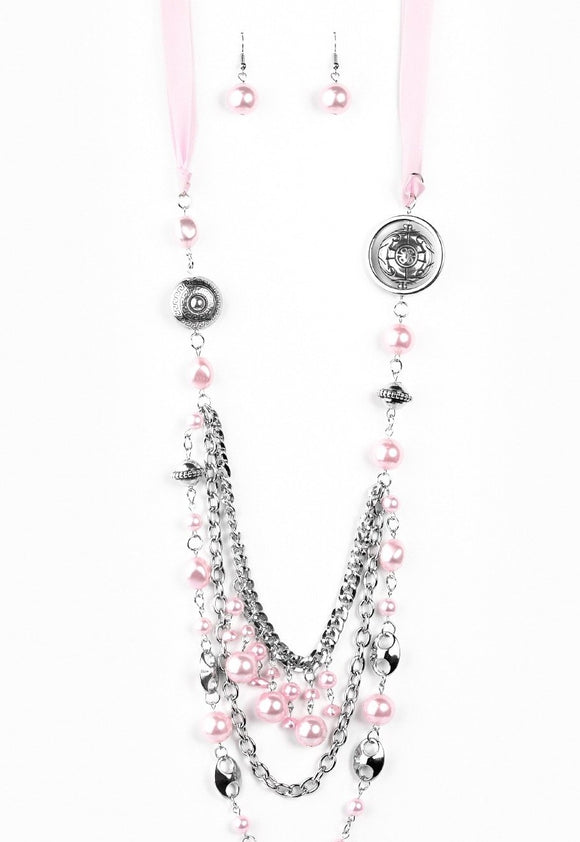 All The Trimmings Pink Pearl Blockbuster Necklace - Paparazzi Accessories Necklace set - Paparazzi Accessories