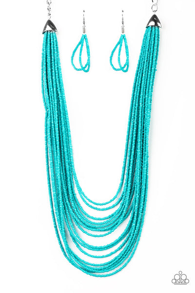 Peacefully Pacific Blue Turquoise Seed Beads Necklaces - Paparazzi Accessories Necklace set - Paparazzi Accessories
