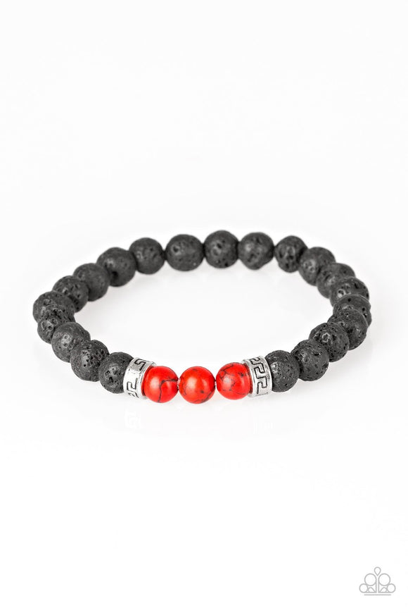 Wisdom Red Black and Silver Lava Rock Stretchy Bracelet - Paparazzi Jewelry Bracelets Bracelet - Paparazzi Jewelry Bracelet