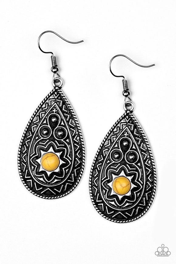 Summer Sol Yellow Earrings - Paparazzi Accessories Earrings - Paparazzi Accessories