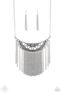 Empress Excursion Fashion Fix Silver Fringe - Paparazzi Accessories Necklace set - Paparazzi Accessories