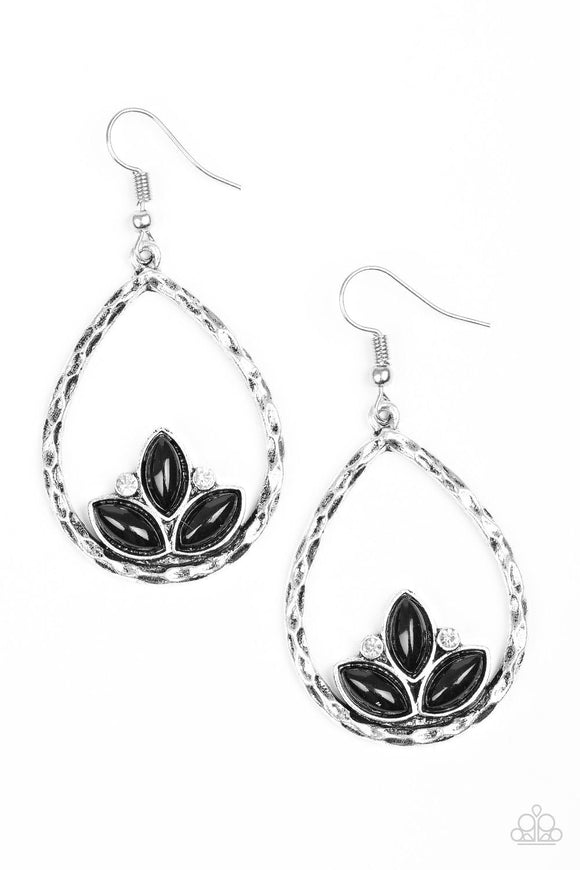 Lotus Labuan Black Rhinestone Earring - Paparazzi Accessories Earrings - Paparazzi Accessories