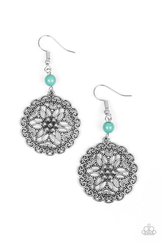 Full Floral Green Silver Earring - Paparazzi Accessories Earrings - Paparazzi Accessories
