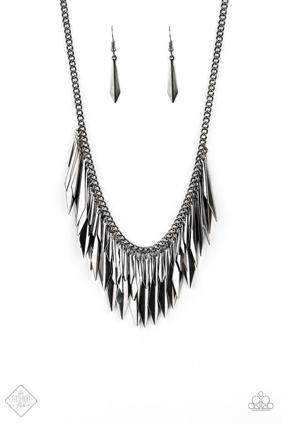 The Thrill-Seeker Gunmetal Magnificent Musings Fashion Fix Collection Necklace - Paparazzi Accessories Necklace set - Paparazzi Accessories