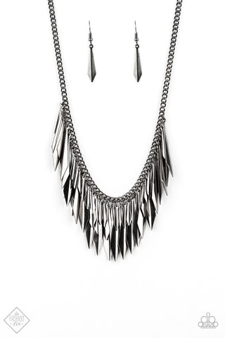 JewelTonez The Thrill-Seeker Gunmetal  Necklace - Paparazzi