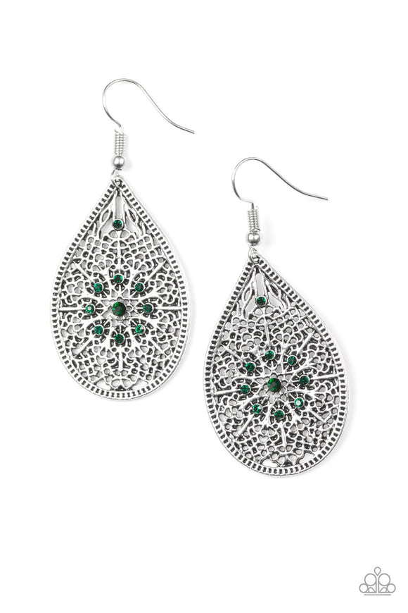 Dinner Party Posh Green Earrings- Paparazzi Accessories Earrings - Paparazzi Accessories