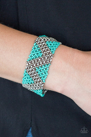 Desert Loom Blue Seed Beads Bracelet - Paparazzi - JewelTonez Jewelry