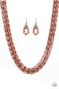 Put It On Ice Copper Necklace - Paparazzi Accessories Necklace set - Paparazzi Accessories