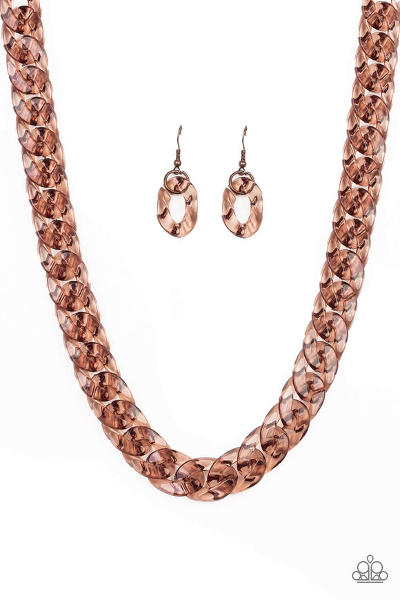 Put It On Ice Copper Necklace - Paparazzi Jewelry Necklaces Necklace set - Paparazzi Jewelry Necklace set