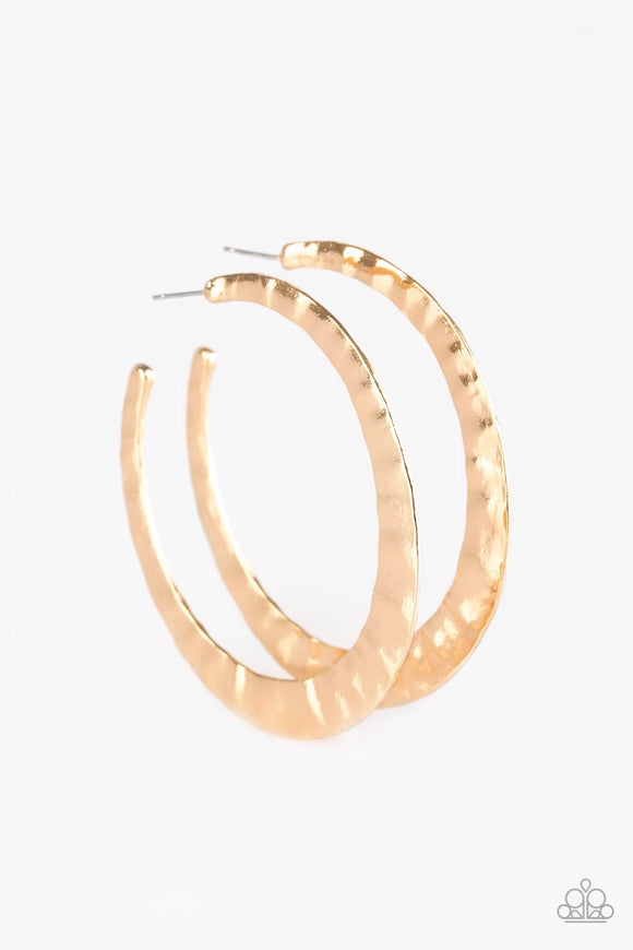 Slayers Gonna Slay Gold Hoop Earrings - Paparazzi Accessories Earrings - Paparazzi Accessories