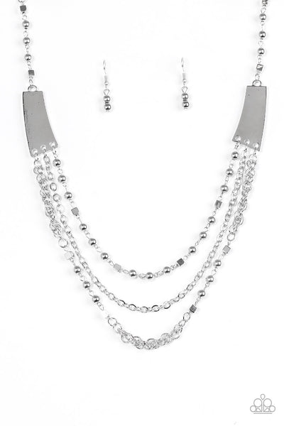 Marvelously Metro Silver Necklace - Paparazzi Accessories - JewelTonez Jewelry