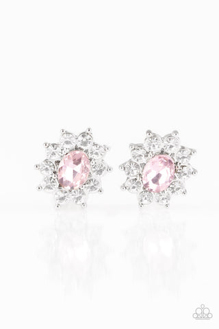 JewelTonez Starry Nights Pink Rhinestone Earrings - Paparazzi