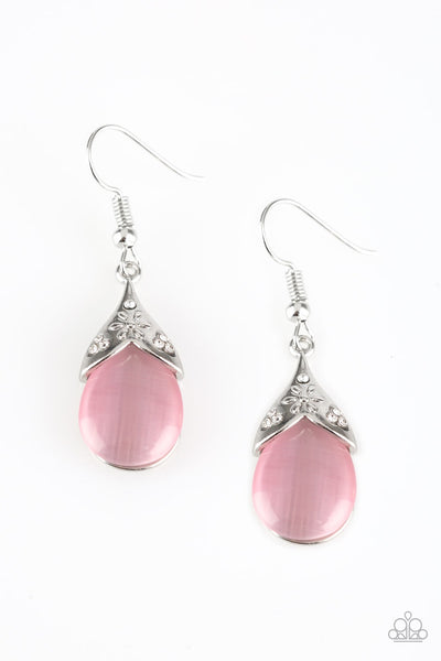 Spring Dew Pink Silver Paparazzi Earrings - JewelTonez Jewelry
