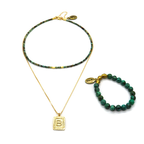 African Turquoise Gemstone Jewelry Gift Set