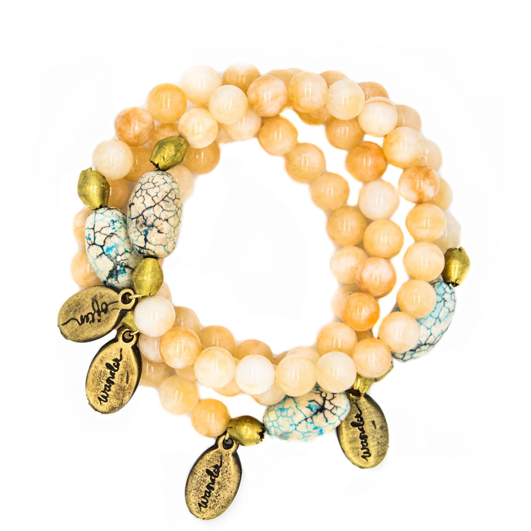 Peach Jade w/ Sky Blue Howlite — Beaded Bracelet