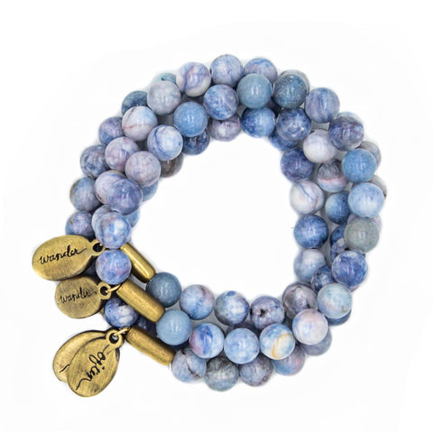 *NEW* Beaded Bracelet  - Jumbo Striped Denim Agate