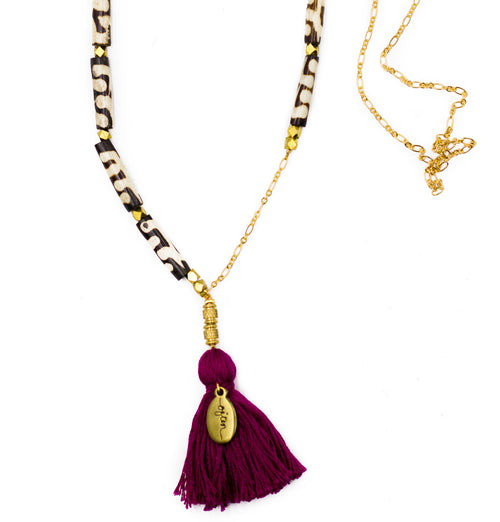Necklace - Reverie / African Bone with Fuchsia Tassel